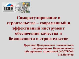Директор Департамента технического регулирования Национального объединения строителей (НОСТРОЙ)