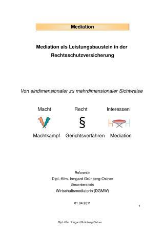 Mediation als Leistungsbaustein in der  Rechtsschutzversicherung