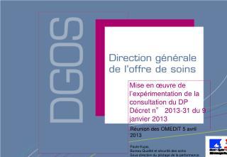 Mise en œuvre de l'expérimentation de la consultation du DP Décret n° 2013-31 du 9 janvier 2013