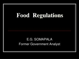 Food  Regulations