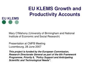 EU KLEMS Growth and Productivity Accounts