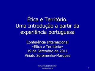 Ética e Território.  Uma Introdução a partir da experiência portuguesa