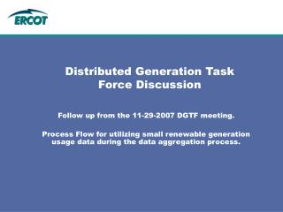 Distributed Generation Task Force Discussion