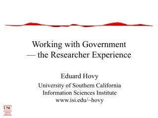 Working with Government — the Researcher Experience