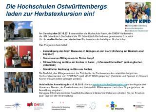 Die Hochschulen Ostwürttembergs  laden zur Herbstexkursion ein!