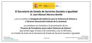 El Secretario de Estado de Servicios Sociales e Igualdad D. Juan Manuel Moreno Bonilla