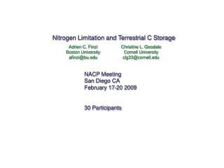 Nitrogen Limitation and Terrestrial C Storage