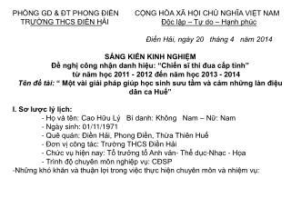 PHÒNG GD & ĐT PHONG ĐIỀN        CỘNG HÒA XÃ HỘI CHỦ NGHĨA VIỆT NAM