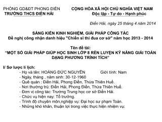 PHÒNG GD&ĐT PHONG ĐIỀN CỘNG HÒA XÃ HỘI CHỦ NGHĨA VIỆT NAM