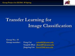Transfer Learning for  		      Image Classification