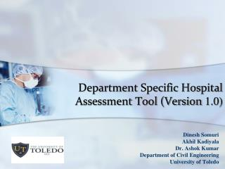 Department Specific Hospital Assessment Tool (Version  1.0)
