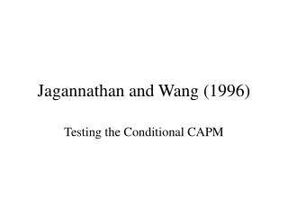 Jagannathan and Wang 1996