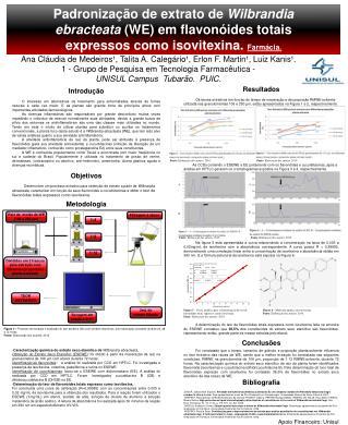 Padronização de extrato de  Wilbrandia  ebracteata  (WE) em flavonóides totais