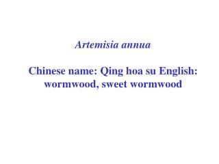 Artemisia annua Chinese name: Qing hoa su English: wormwood, sweet wormwood