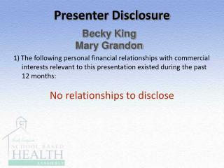 Presenter Disclosure
