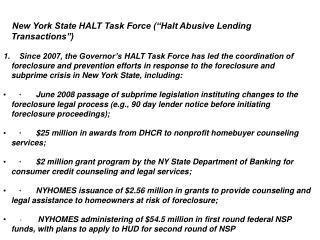 New York State HALT Task Force (�Halt Abusive Lending Transactions�)