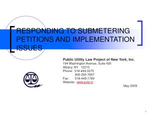 RESPONDING TO SUBMETERING PETITIONS AND IMPLEMENTATION ISSUES