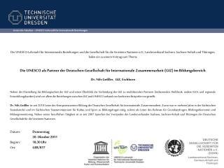 Juristische Fakult�t � UNESCO-Lehrstuhl f�r Internationale Beziehungen