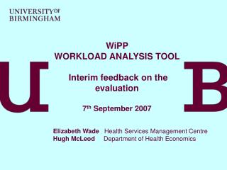 WiPP WORKLOAD ANALYSIS TOOL  Interim feedback on the evaluation  7 th  September 2007