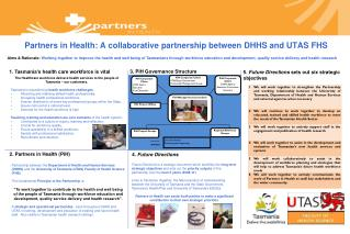 Partners in Health: A collaborative partnership between DHHS and UTAS FHS