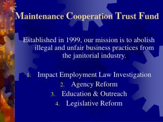 Maintenance Cooperation Trust Fund