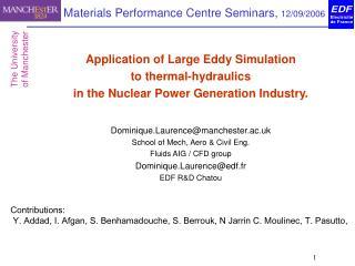Materials Performance Centre Seminars, 12/09/2006