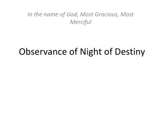 Observance of Night of Destiny