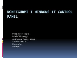Konfigurmi  I Windows-it Control Panel