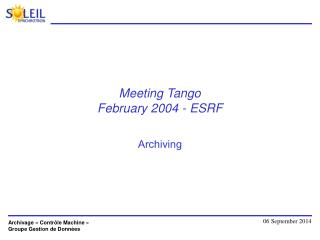 Meeting Tango  February 2004 - ESRF