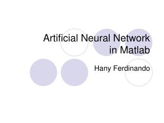 Artificial Neural Network in Matlab