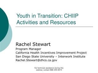Youth in Transition: CHIIP Activities and Resources