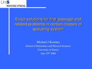 Exact solutions for first-passage and related problems in certain classes of queueing system