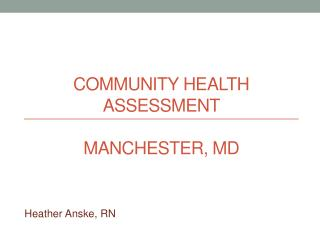 Community Health Assessment Manchester, MD