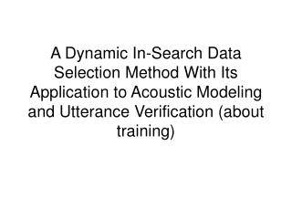 Dynamic data selection in search (1/4)