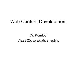 Web Content Development