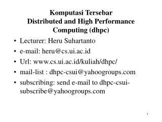 Komputasi Tersebar  Distributed and High Performance Computing (dhpc)