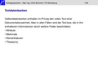 Anfragesprachen – Dipl. Ing. Ulrich Borchert / FH Merseburg1/25