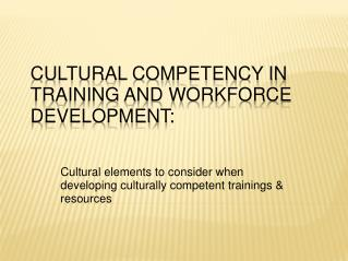 Cultural Competency in Training and Workforce Development: