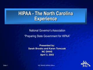 "National Governor's Association ""Preparing State Government for HIPAA"""
