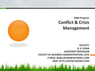 MBA  Program Conflict & Crisis  Management