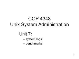 COP 4343 Unix System Administration
