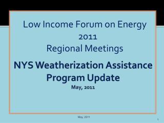 NYS Weatherization Assistance Program Update May, 2011