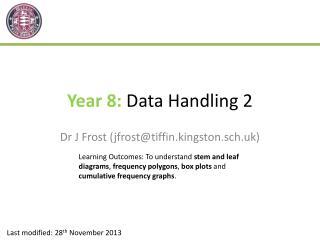 Year 8:  Data Handling 2