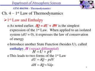 Ch. 4 – 1 st  Law of Thermodynamics