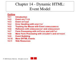 Chapter 14 - Dynamic HTML:  Event Model
