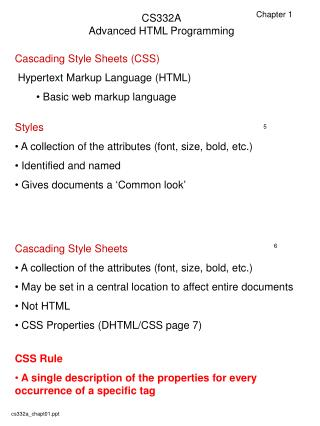 CS332A Advanced HTML Programming