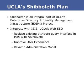 UCLA s Shibboleth Plan