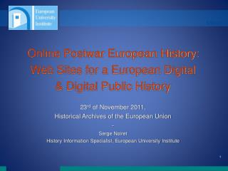 Online Postwar European History: Web Sites for a European Digital  & Digital Public History