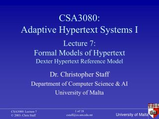 CSA3080: Adaptive Hypertext Systems I