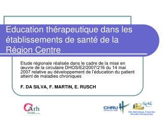 Education thérapeutique dans les établissements de santé de la Région Centre